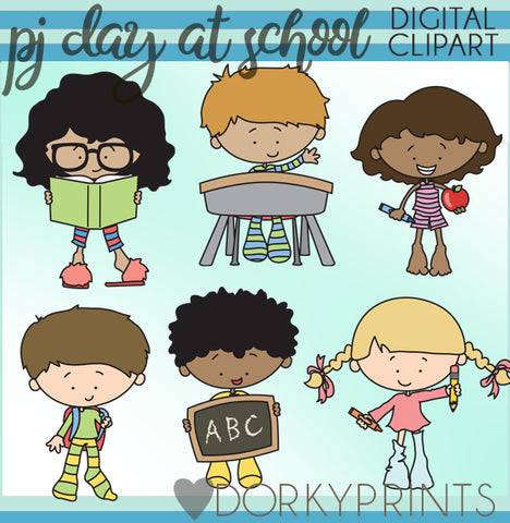 Pajama Day at School Kid Clipart