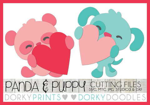 Panda and Puppy Holding Hearts Valentine SVG Cuttable Files