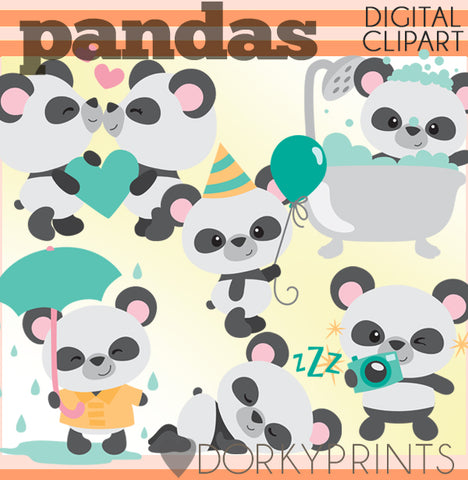 Cute Panda Animals Clipart