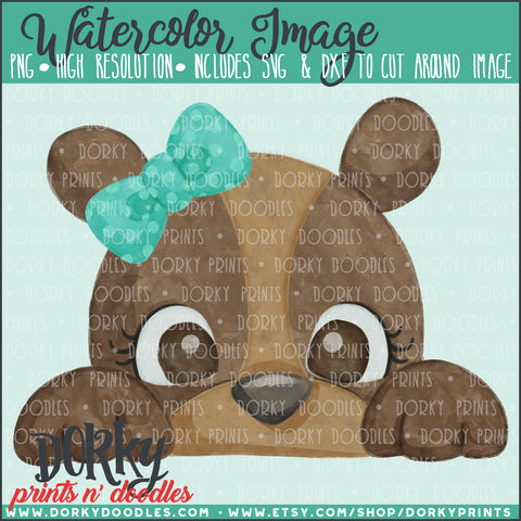 Peeking Bear Watercolor PNG
