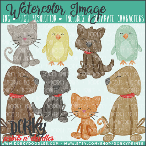 Family Pets Watercolor PNG