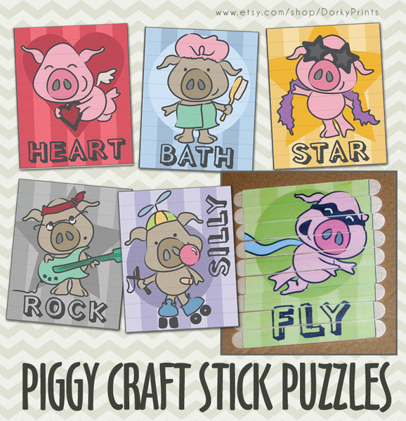 Pig Craft Stick Puzzles Learning Printables