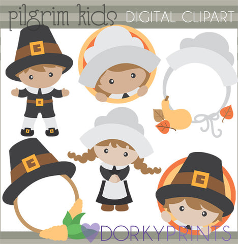 Pilgrim Kids Thanksgiving Clipart