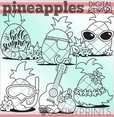 Blackline Pineapple Summer Clipart