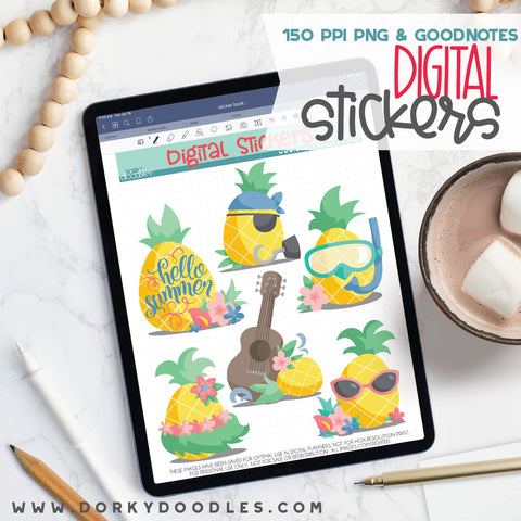 Pineapple Luau Digital Planner Stickers