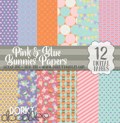 Pink and Blue Easter Bunnies Digital Paper Pack