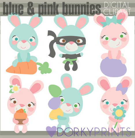Pink and Blue Bunnies Spring Clipart