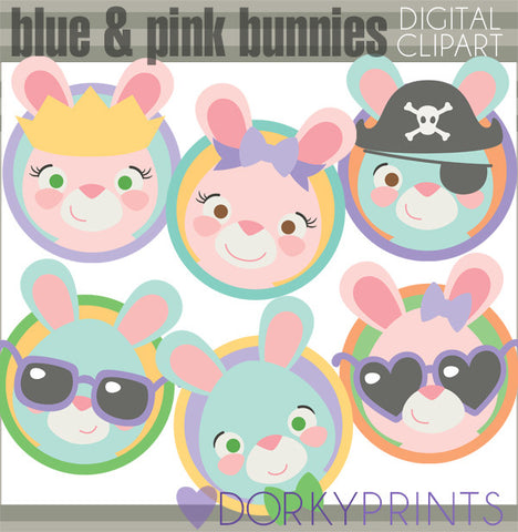 Pink and Blue Bunny Circles Spring Clipart
