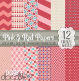 Red and Pink Digital Paper Pack