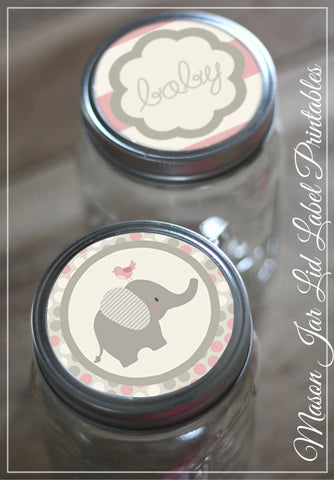 Pink Elephant Mason Jar Lids Baby Shower Printables