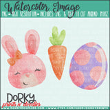 Pink Easter Bunny Trio Watercolor PNG