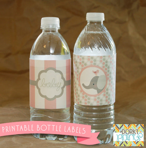 Pink Elephant Water Bottle Labels Baby Shower Printables
