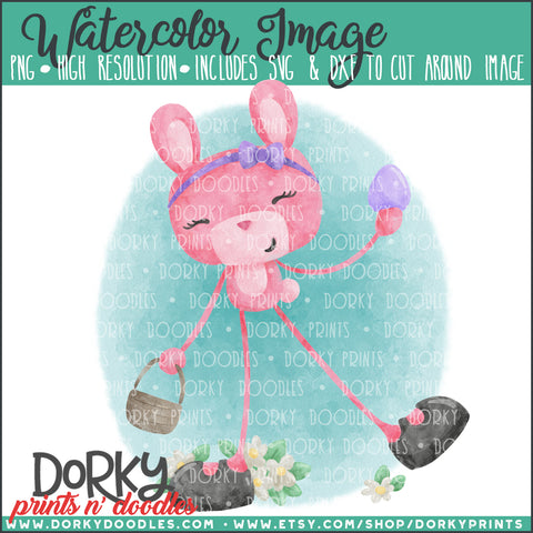 Pink Easter Bunny Watercolor PNG