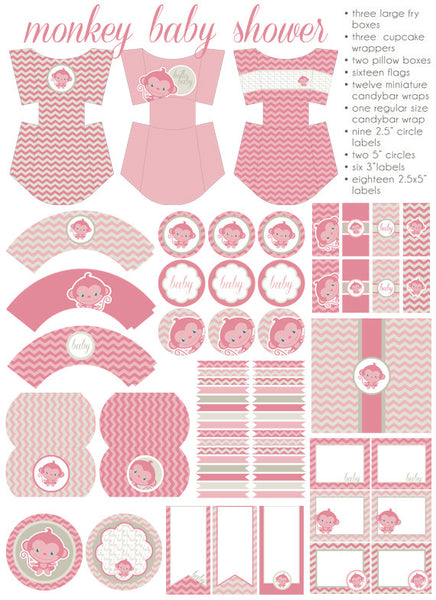 Pink Monkey Baby Shower Printables