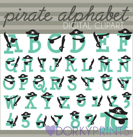Pirate Alphabet Symbols Clipart