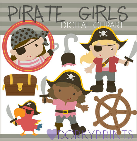 Pirate Girls Kid Clipart