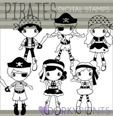 Pirate Blackline Kid Clipart