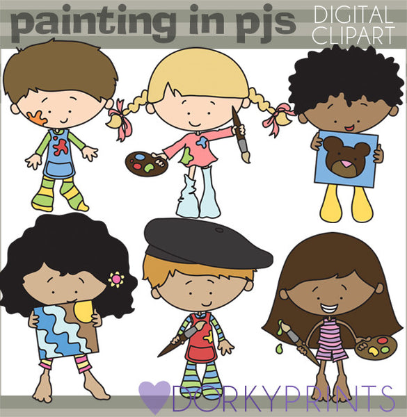 Painting in Pajamas Kid Clipart