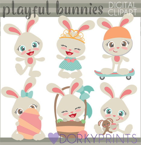 Easter Bunny Girls Spring Clipart