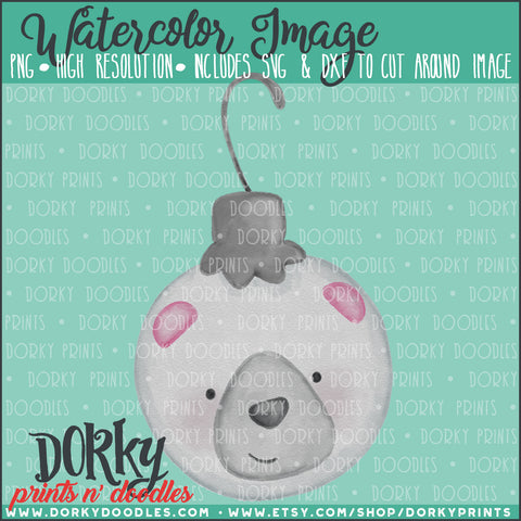 Polar Bear Ornament Watercolor PNG