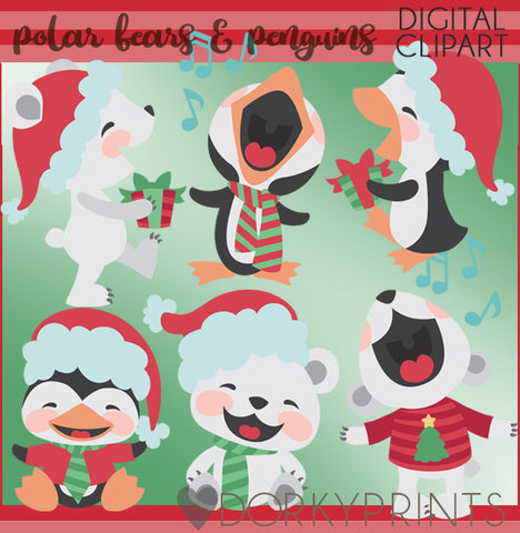 Polar Bears and Penguins Christmas Clipart