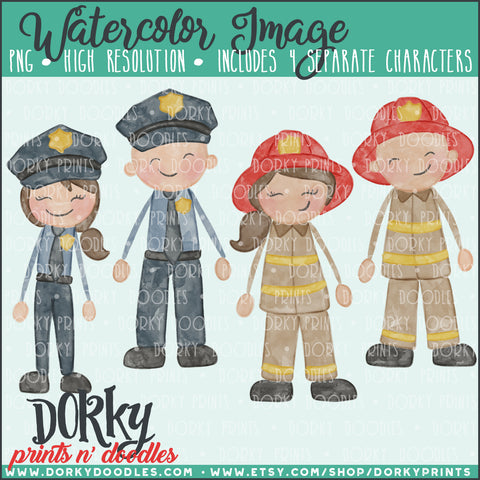 Police and Fire Fighter Watercolor PNG