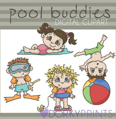 Cute Pool Kids Summer Clipart
