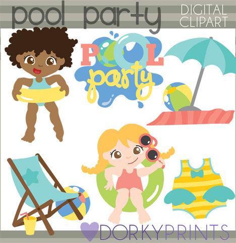 Pool Party Summer Clipart