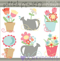 Potted Flowers Spring Clipart