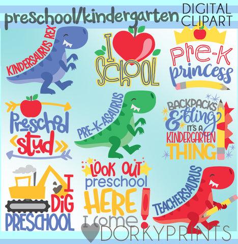 Preschool Kindergarten Back to School Clipart