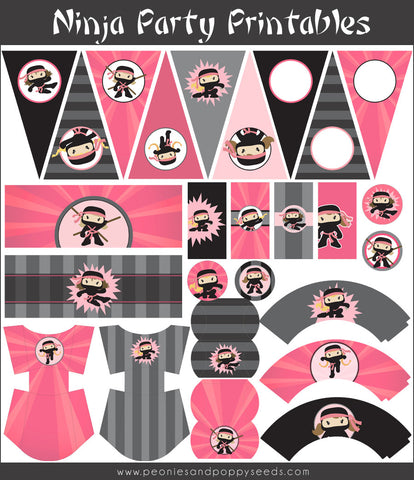 Ninja Birthday Party Printables Pack for Girls