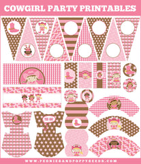 Cowgirl Birthday Party Printables in Pink and Brown