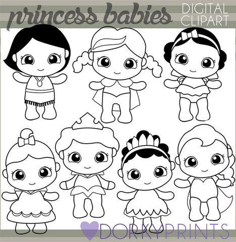 Black Line Baby Princess Character Clipart
