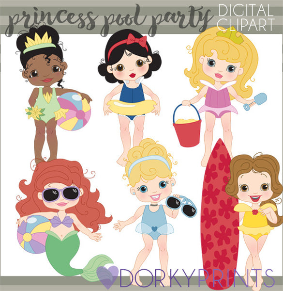 Princess Pool Party Character Clipart