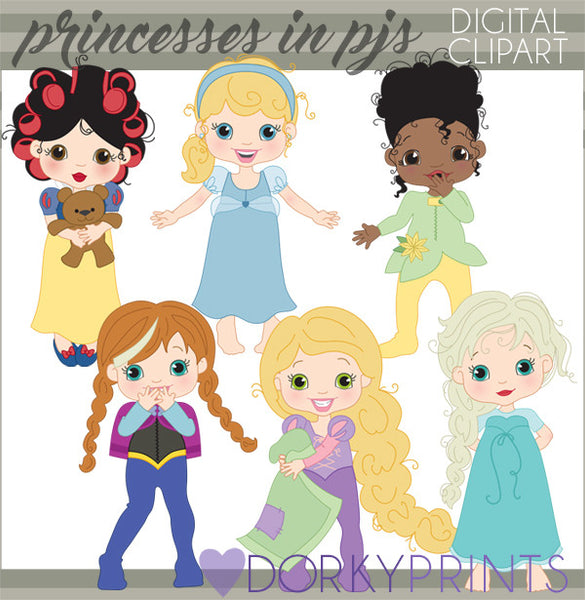 Princesses in Pajamas Character Clipart