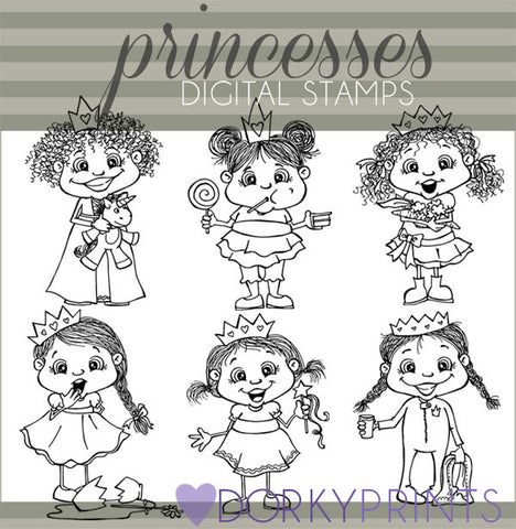Princess Black Line Character Clipart