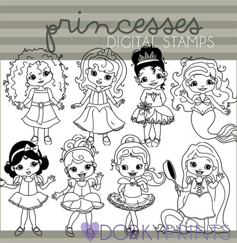 Princess Blackline Character Clipart