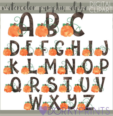 Watercolor Pumpkin Alphabet Symbols Clipart
