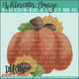 Pumpkins and Sunflowers Watercolor PNG