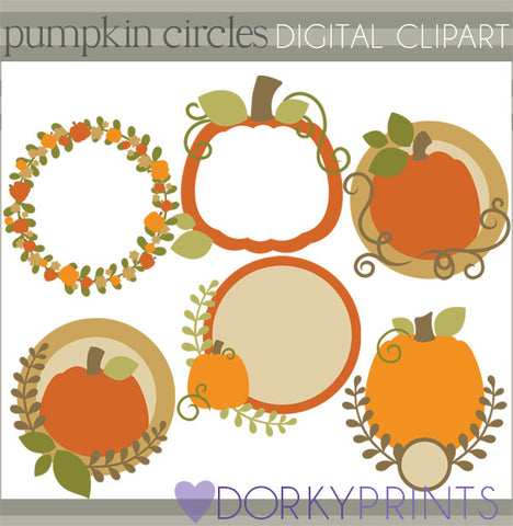 Pumpkin Circle Frames Thanksgiving Clipart