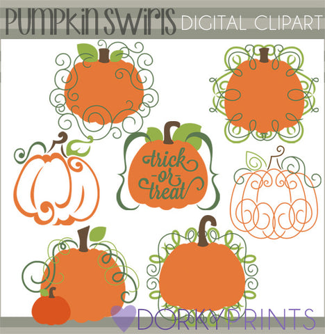 Pumpkin Swirls Halloween Clipart