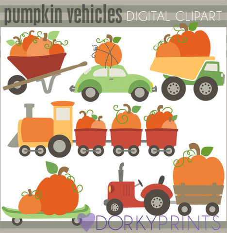 Pumpkin Vehicles Halloween Clipart
