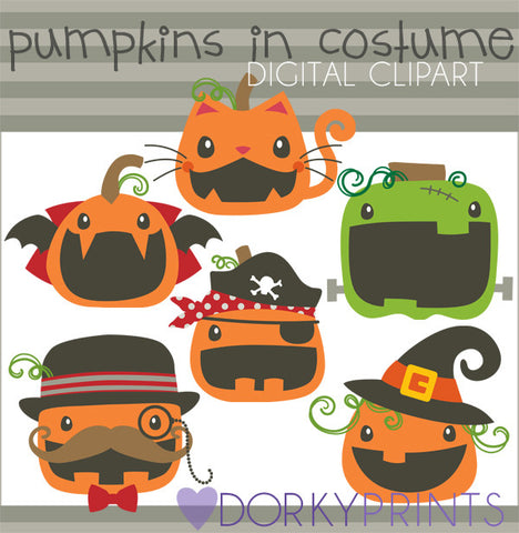 Pumpkins in Costume Halloween Clipart