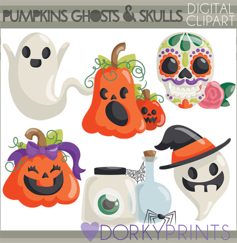 Pumpkin and Ghost Halloween Clipart