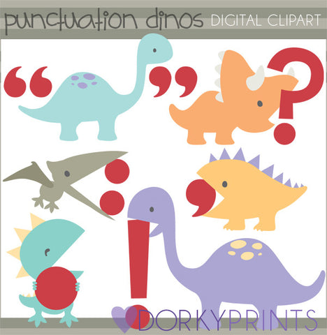 Punctuation Dinosaurs School Clipart