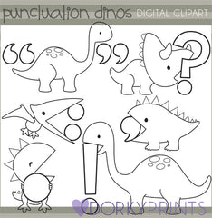 Punctuation Dinosaurs Black Line School Clipart