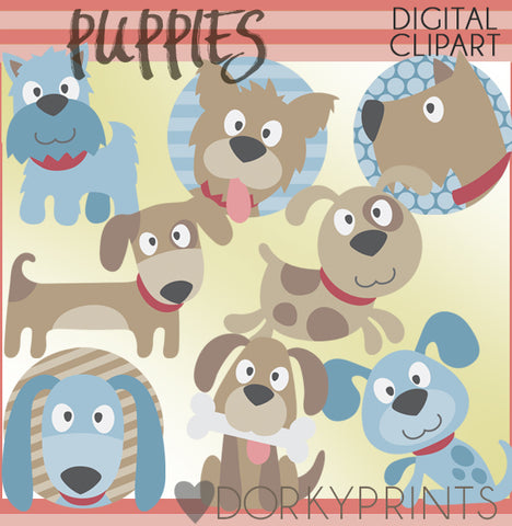 Blue and Brown Puppy Animals Clipart