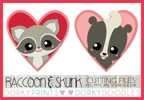 Raccoon and Skunk in Hearts Valentine SVG Cuttable Files