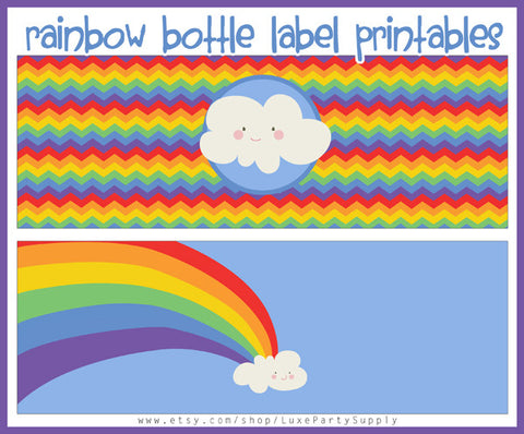 Rainbow Water Bottle Labels Birthday Party Printables