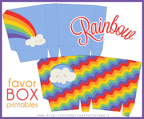 Rainbow Treat Boxes Birthday Party Printables